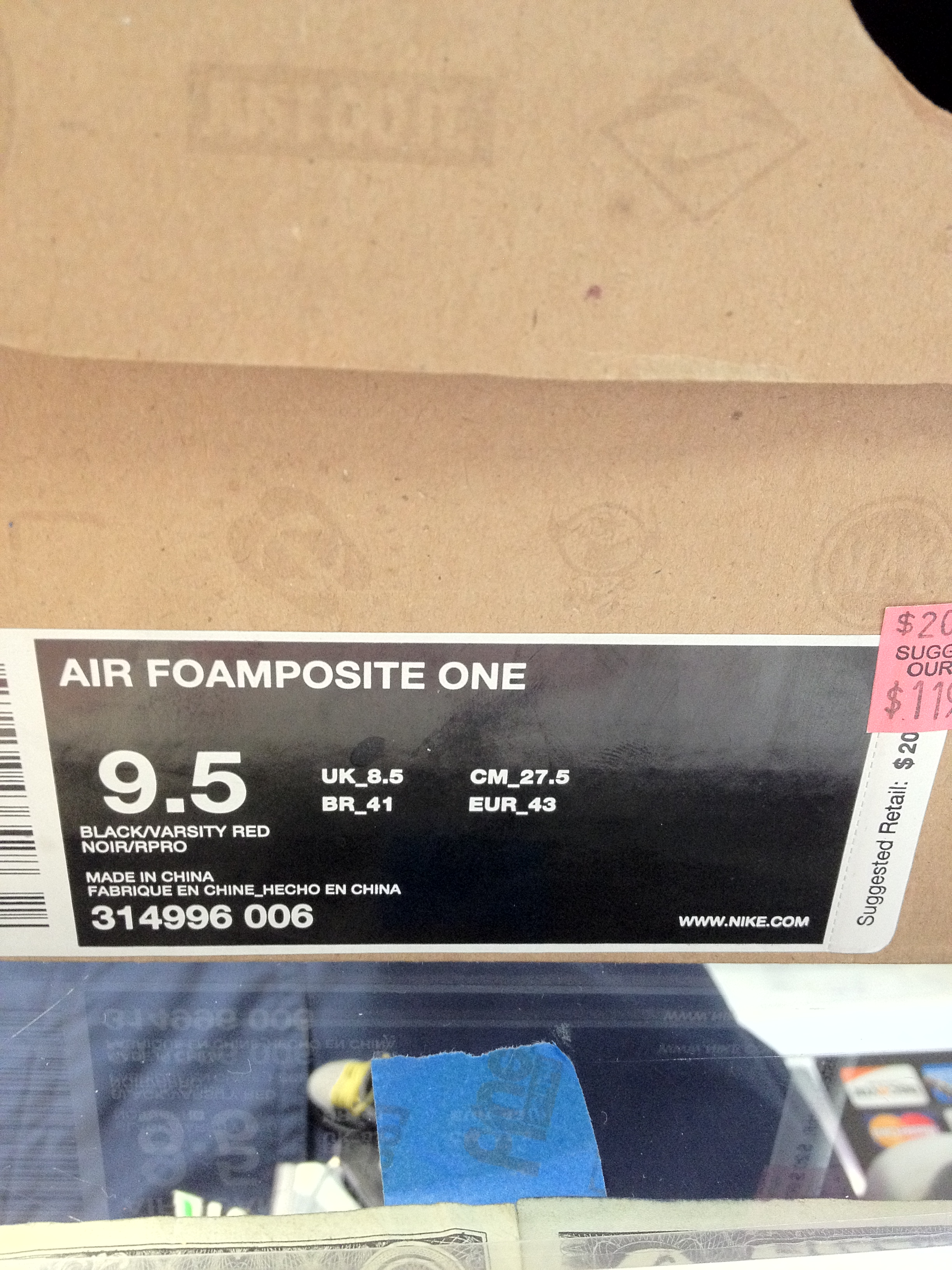 2010 Nike Air Foamposite One Cough Drop Box Only
