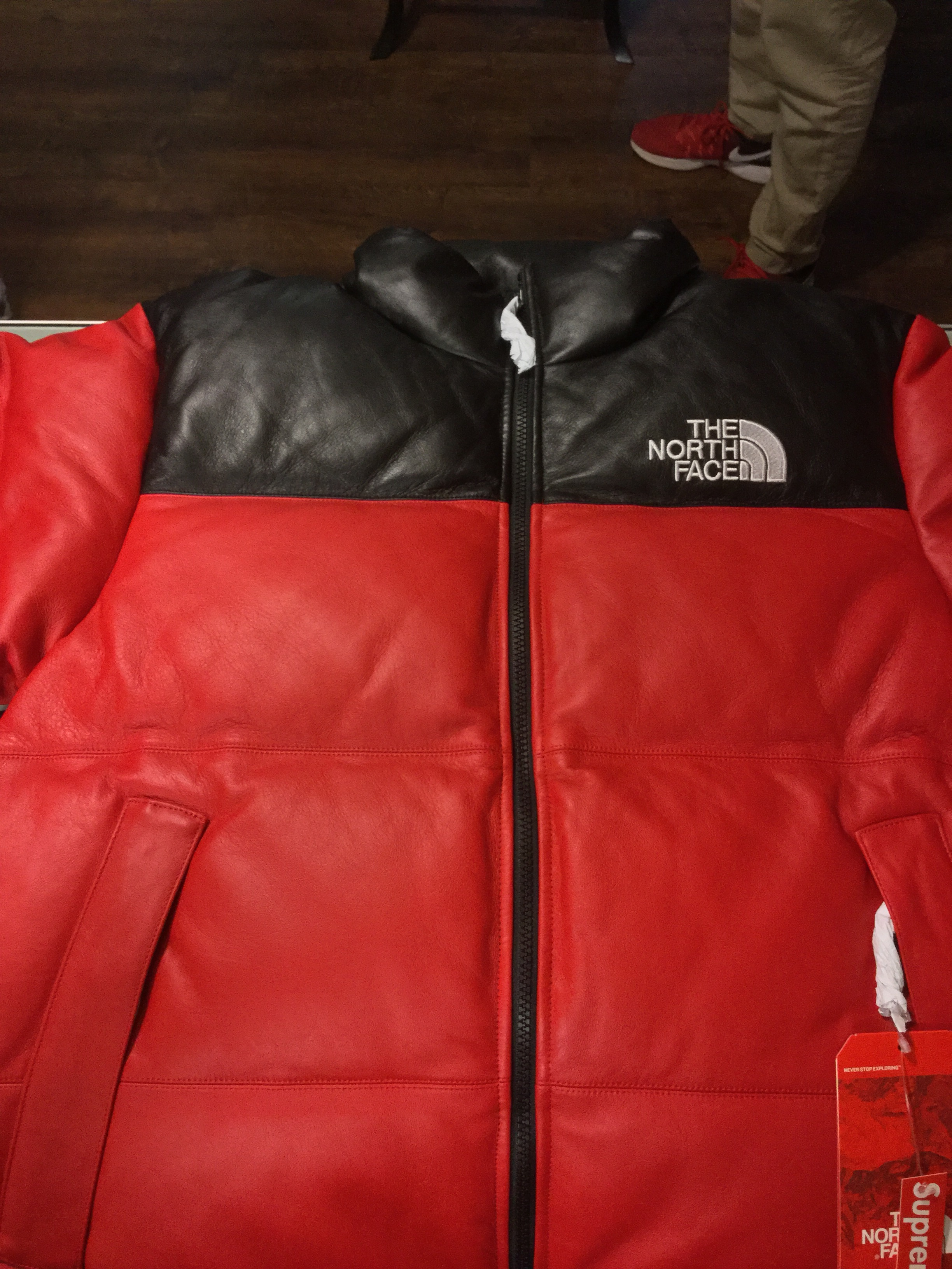 2017 Supreme X The North Face Leather Nuptes Jacket Red