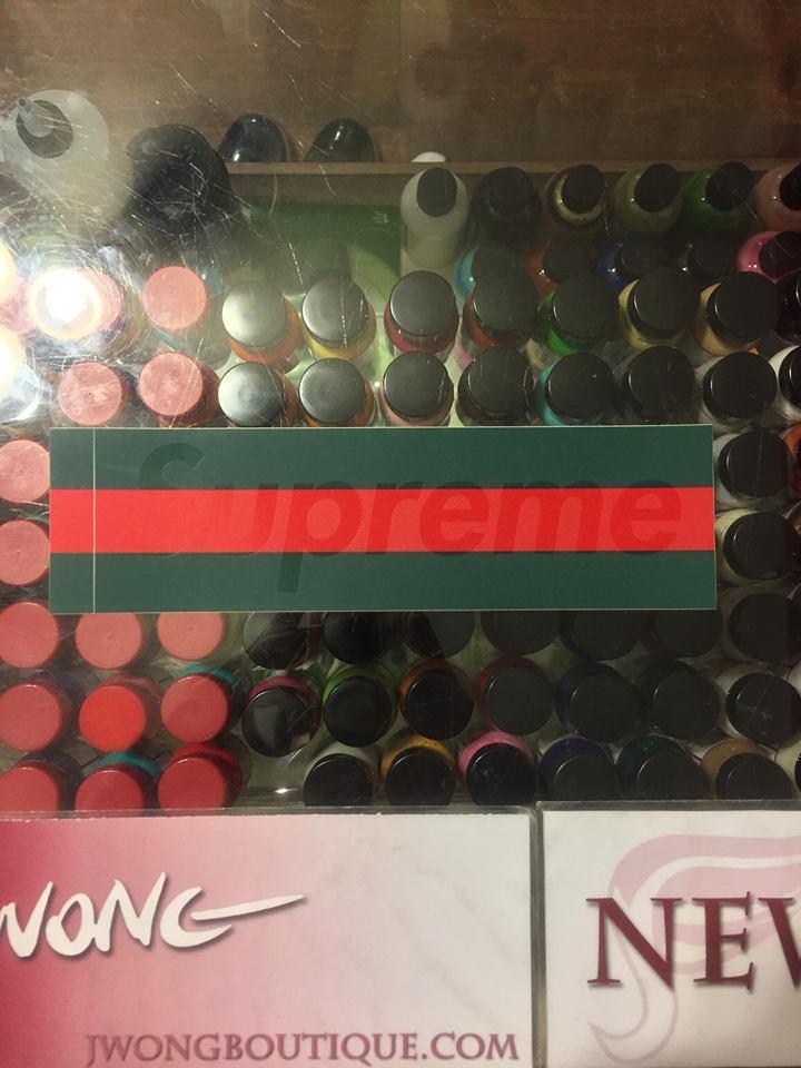 2001 Supreme Gucci Box Logo Sticker Green Red Jwong Boutique
