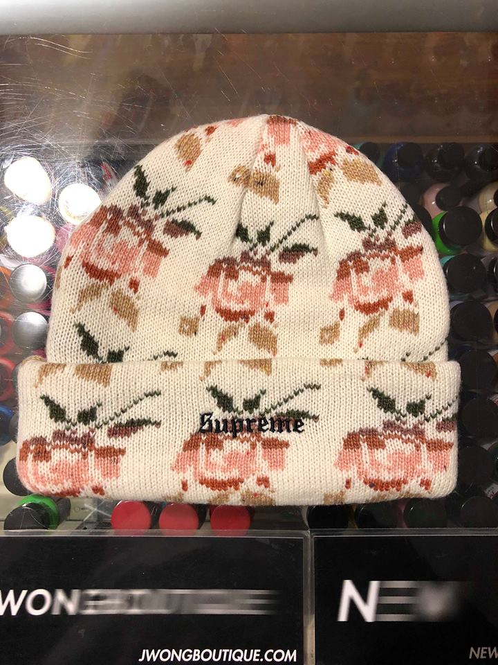 9e55be2a6294d 2018 Supreme Rose Jacquard Beanie Natural