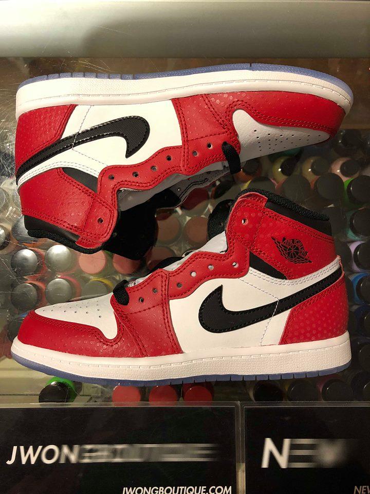 2018 Nike Air Jordan 1 Retro High Spider Man Origin Story Kids ... d960cfd67